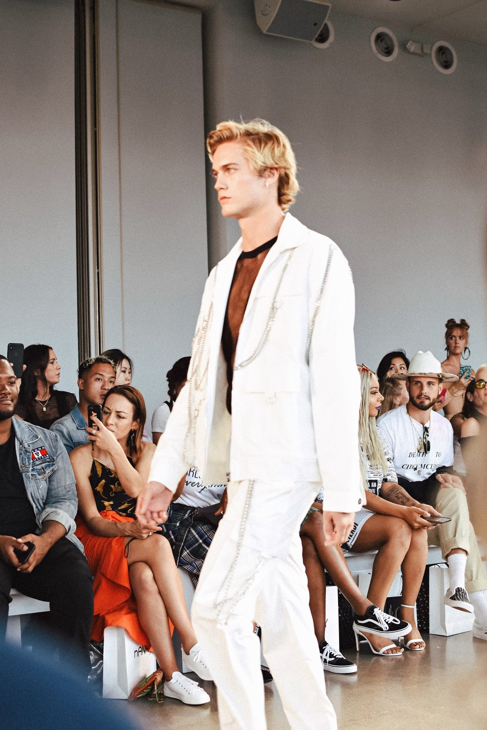 All white denim jacket and trousers for men