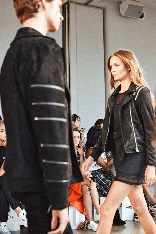 All black zipper denim jacket for men and women