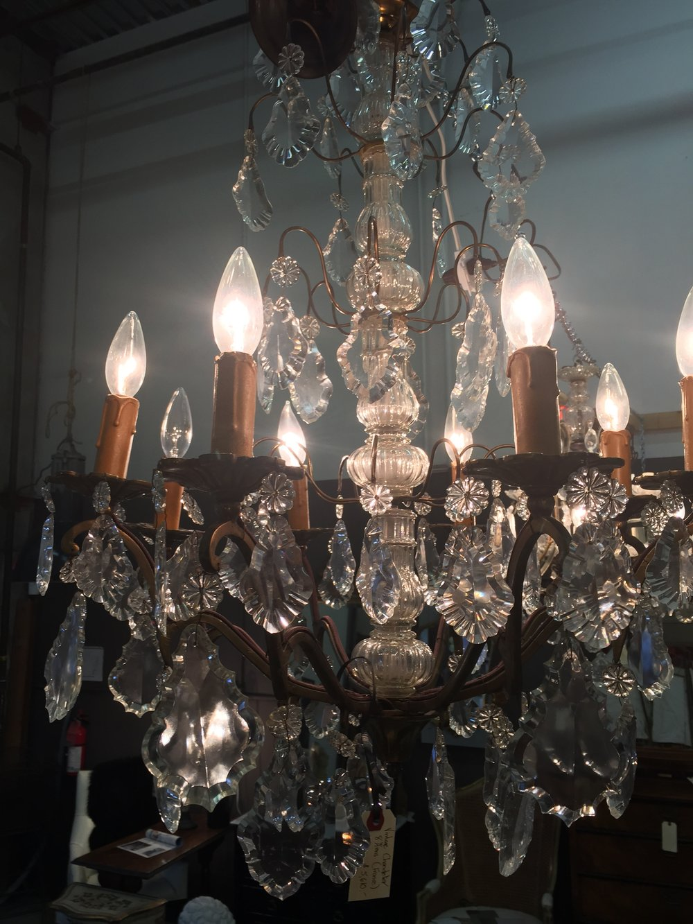 Large Crystal Chandelier - France c. 1930's.JPG
