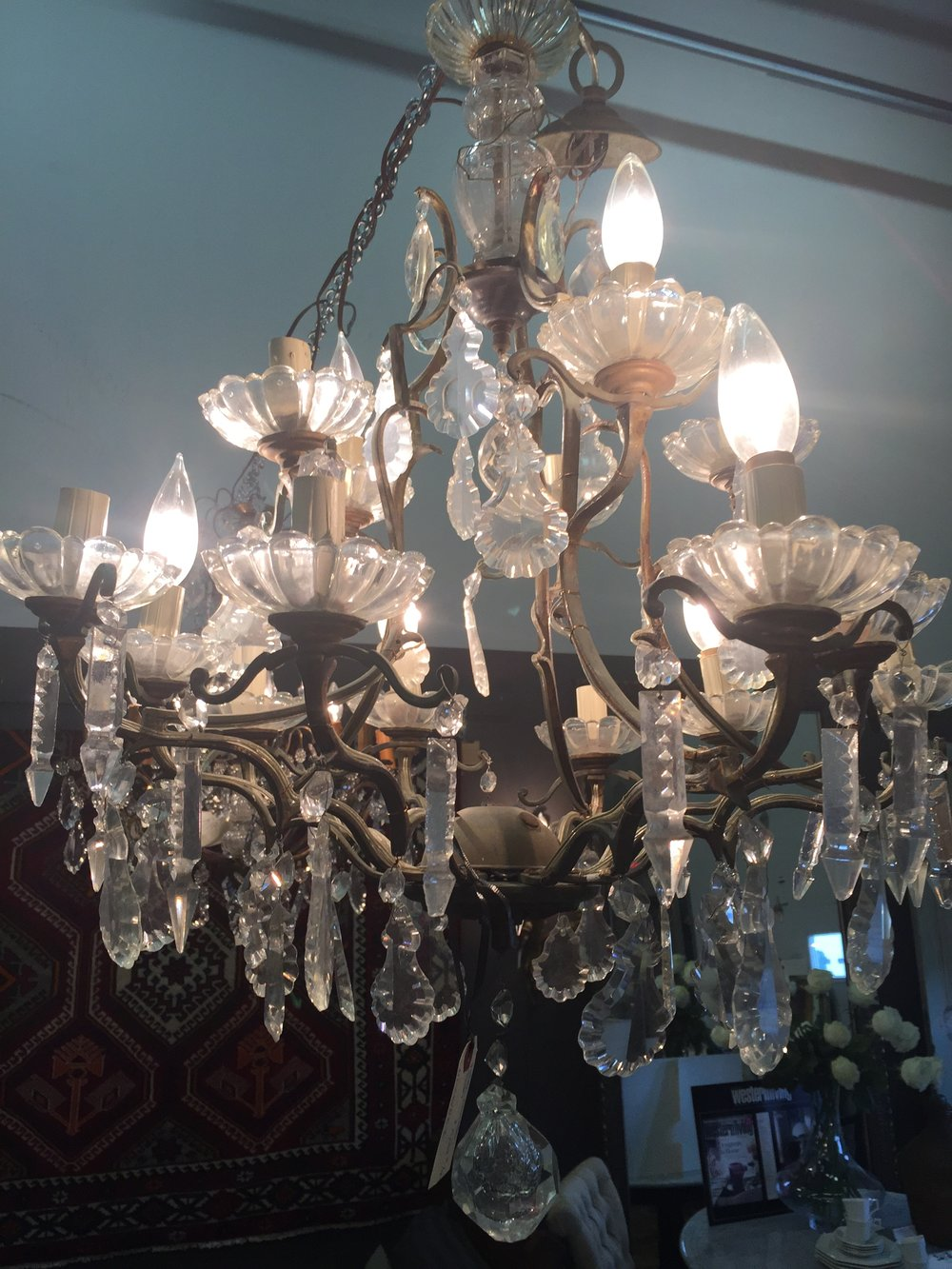 Large Crystal Chandelier 2 tiers - France c.1930's.JPG