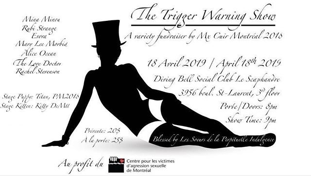 TONIGHT/CE SOIR: The Trigger Warning Show🎩 Un spectacle de variété/burlesque pour lever des fonds pour le Centre pour victimes d'agression sexuelle de Montréal. A variety/burlesque show to raise funds for Montreal's Sexual Assault Centre. Doors at 8pm | Show at 9pm |$25 at the door • • • • • • #triggerwarning #show #mtl #montreal #dbsc #divingbell #montreal #mtlevents #varietyshow #burlesque #performance #cvasm #survivors #fundraiser #arts #culture #community