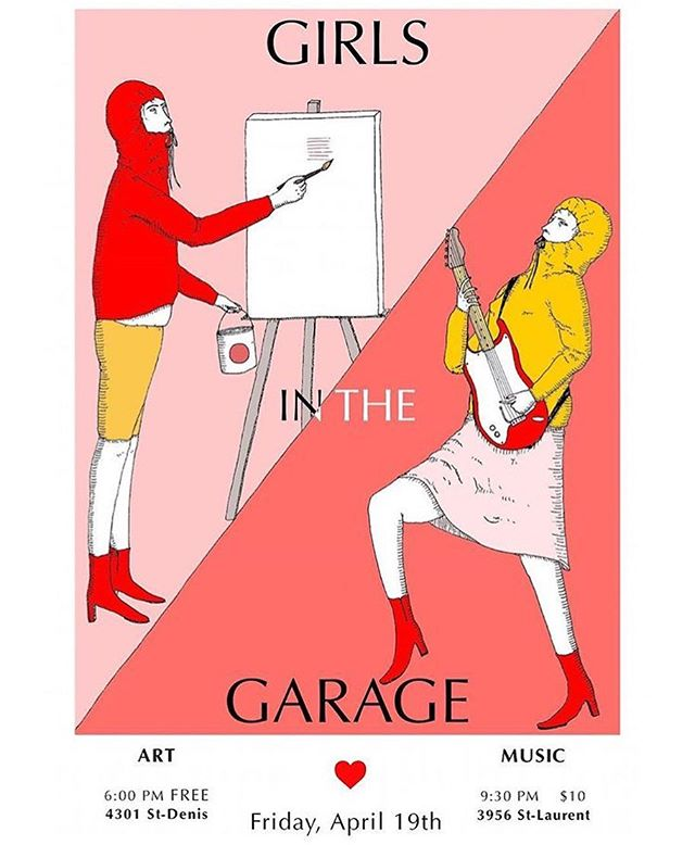 CE SOIR: Girls In The Garage is TONIGHT! A celebration of female talent in the underground art scene feat. both visual artists & musicians!✨ Musical performances by @hanorahmusic / @_puncti / @deception.band✨ 9:30 | $10 (PWYC) at the door • Poster by @gatorrallie • • • • • #girlsinthegarage #montreal #artists #musicians #femalemusicians #girls #femme #musique #underground #mtl #spectacle #art #culture #divingbell #dbsc #bands #livemusic #mtlevents #mtlmusic
