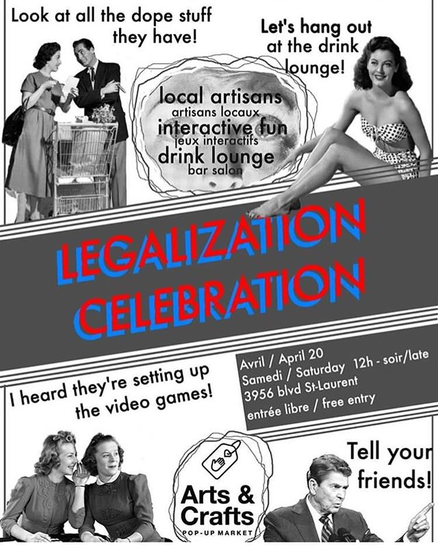 TODAY / AUJOURD'HUI: Legalization Celebration // @divingbellartsmarket 🎨 Venez découvrir les oeuvres artisanales d'artistes Montréalais et célébrer le premier 4/20 légal! Come shop handmade goods by local vendors and celebrate the first year of legalization!✨Ft. video games, interactive fun, drink lounge +live music tonight by @redmassmtl + @jyraph🎶 • • • • • • #livemusic #420 #celebration #legalization #arts #crafts #market #montreal #mtl #cannabis #culture #mtlmusic #psychedelic #psychedelicmusic #trippy #visuals #artisans #mtlevents