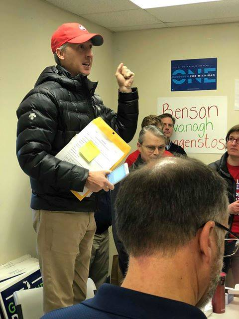 Paul addresses attendees at a #RedforEd canvassing day, organized by the American Federation of Teachers and Michigan Education Association, prior to the November 2018 election