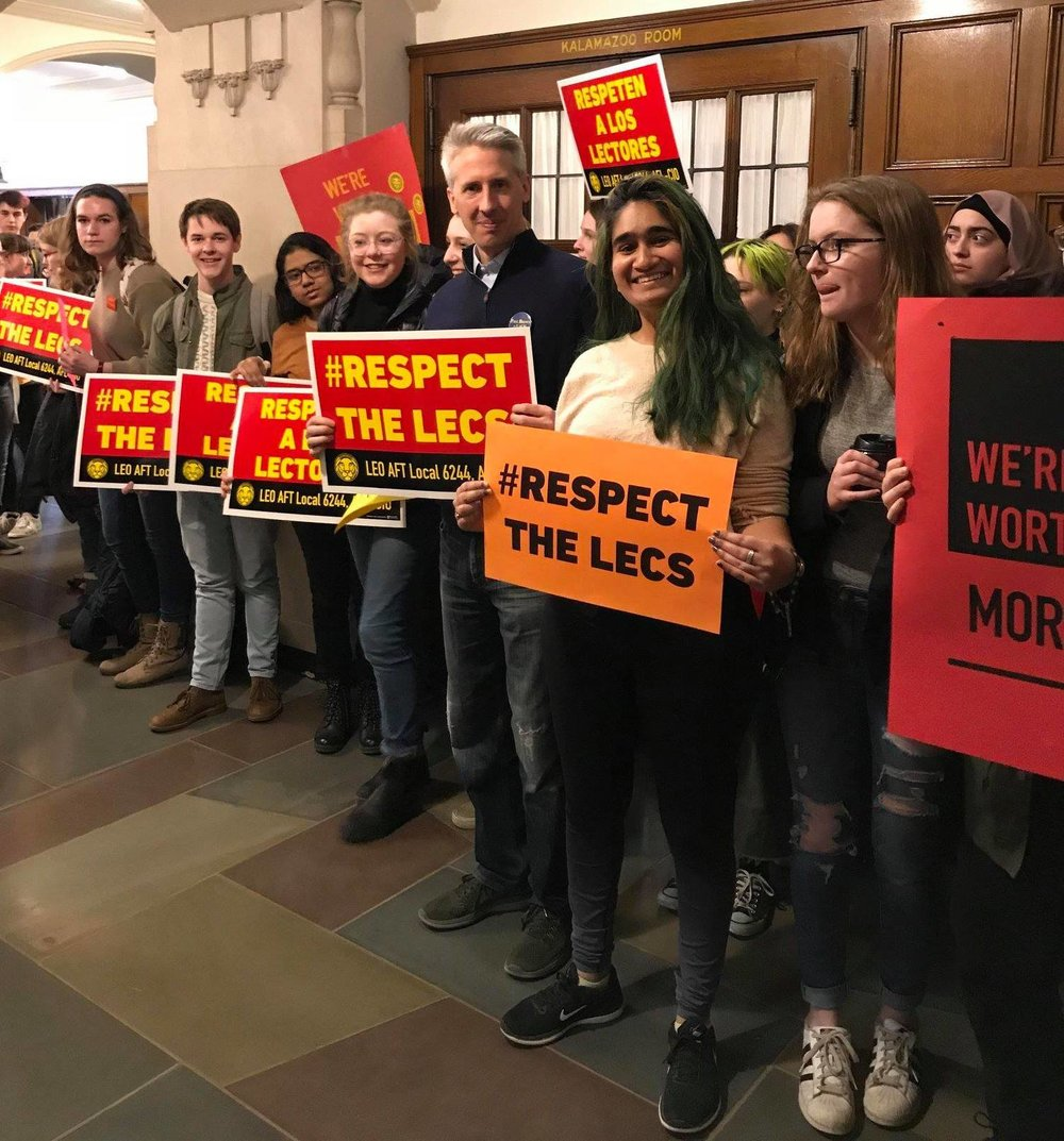 Paul stands with LEO student allies at our Open Bargaining action in April 2018