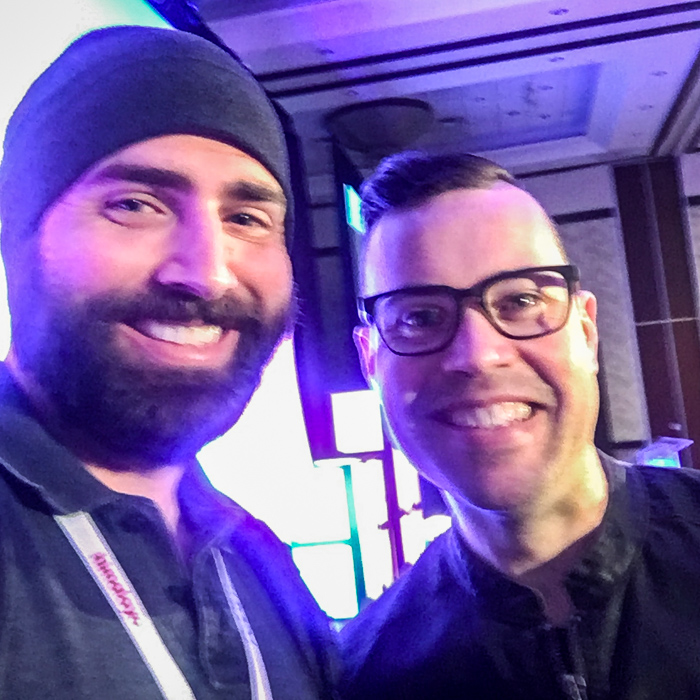 Me with the great Jordan Harbinger! Sorry for the blurry photo… apparently I can't hold my phone still when I'm excited.