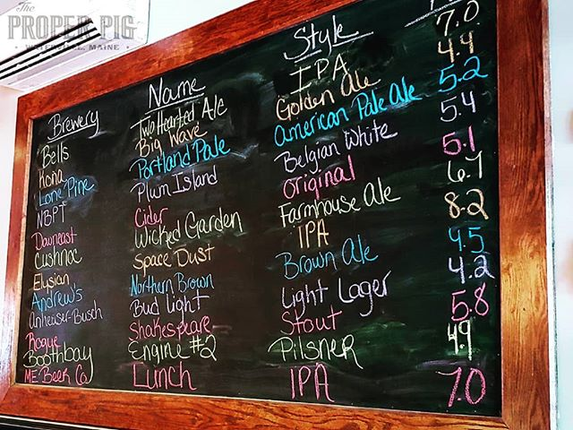 Current draft board. See you tonight.  #maine #mainebeer #realproperpig #craftbeer #watervillemaine #beer #goodbeer #ipa #drinklocal #draftbeer #taplines #centralmaine