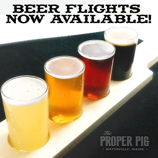By popular demand.. beer flights are now available! #beer #mainebeer #craftbeer #realproperpig