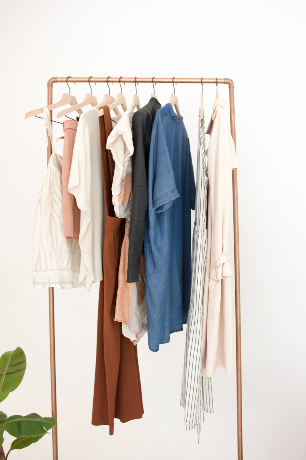 Clothing on copper rack