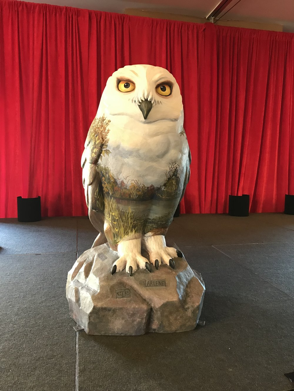 The Owl prototype was made possible through a generous donation from the Arlene Heward Estate. The sculpture has been beautifully and meticulously painted by artist Abbie Hoogeveen. it will be available for viewing at our Shelter in Munster throughout the Owl Public Art Tour from July 15-October.