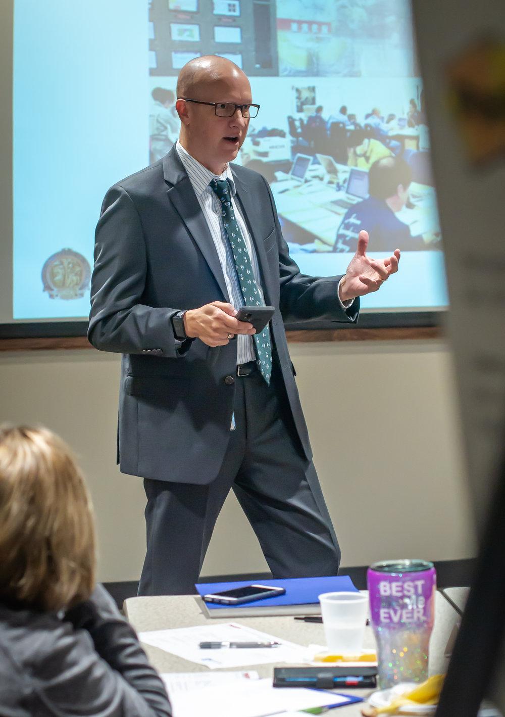 Dr. J. Allen McElroy speaks to students