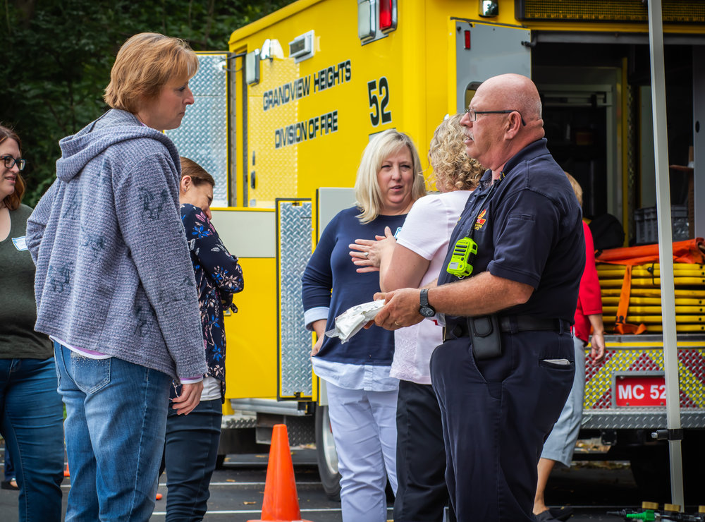 Fire Captain, Martin Hafey, outlines the contents of an emergency medical kit