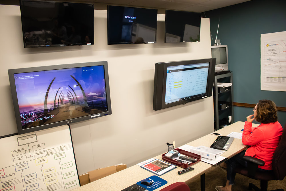 Monitors inside of the COTS command center