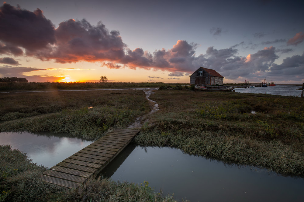 Across and over, Thornham Harbour, Norfolk.