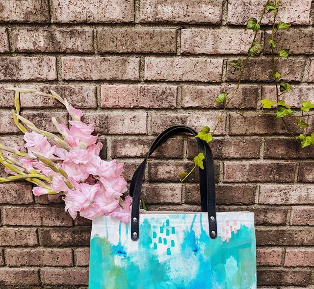 Whether you're carrying a laptop, school books, diapers or flowers, our tote has room for it. Ethically made in India, hand painted by local artist and girl boss @maggssmac.art. It's art that you can wear.