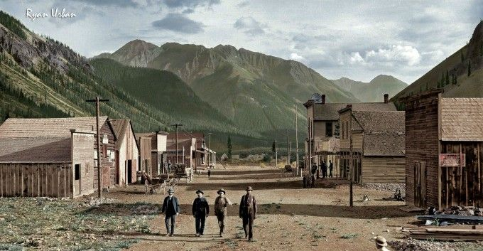 Photo recolorisée - vers 1873 - Eureka, Colorado - Source N&B: https://westernmininghistory.com