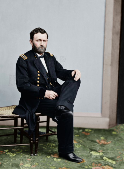 Ulysses S. Grant - photo re-colorisée - vers 1865 - était Président des Etats Unis en 1877. (Photo prise alors qu'il était encore sous les ordres de Lincoln en tant que Commandant des Forces de l'Union)  (Source: http://allthatsinteresting.com/civil-war-in-color/3)