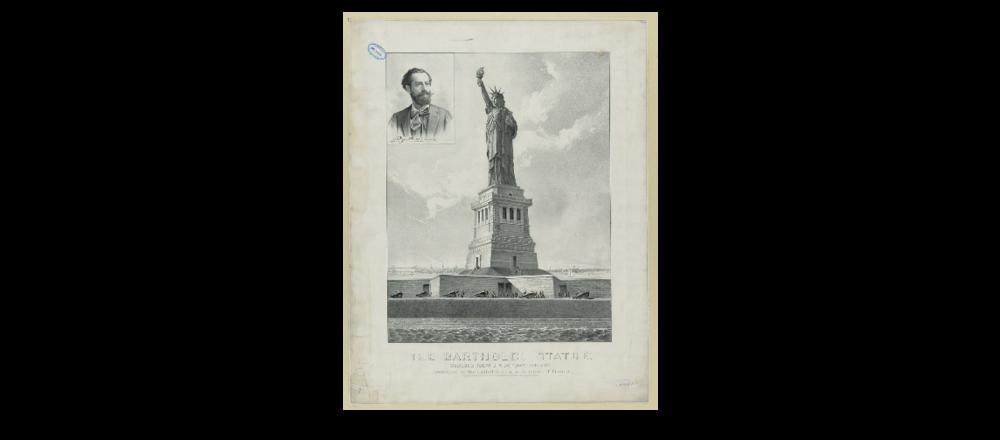 The Bartholdi Statue--Bedloe's Island, New York Harbor--Presented to the United States by citizens of France - 1886 (La statue de Bartholdi -- Ile de Bedloe, Baie de New York -- présentée aux Etats Unis par les citoyens de France - 1886) Source: bibliothèque du Congrès - USA. Vous pouvez le consulter en ligne et le  télécharger