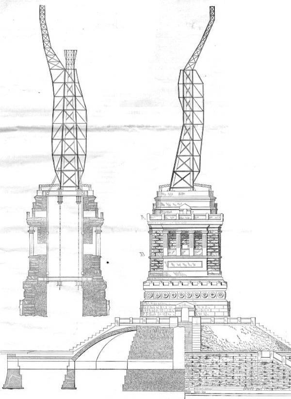Assemblage de la structure d'Eiffel sur le socle de Hunt - 1885 - source: nps.gov