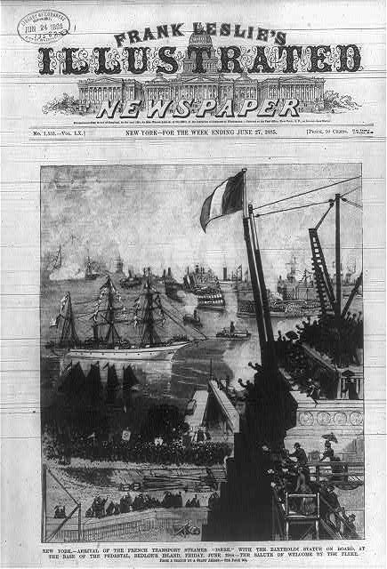 """New York - arrival of the French transport steamer Isere with the Bartholdi statue on board, at the base of the pedestal, Bedloe's Island, Friday, June 19th - the salute of welcome by the fleet""""- Librairy of Congres"""