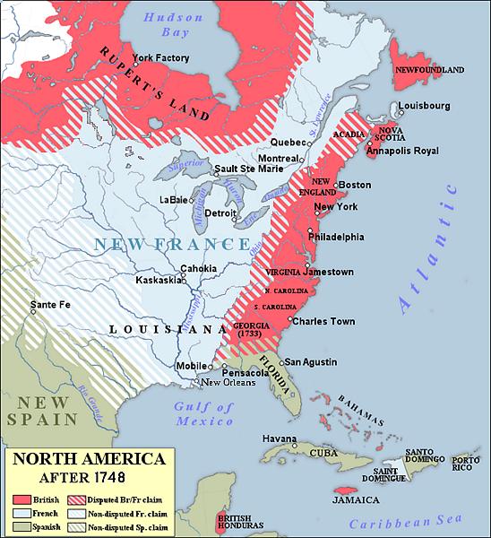 Carte de l'Amérique du Nord en 1748, avant le conflit. Source wikipedia