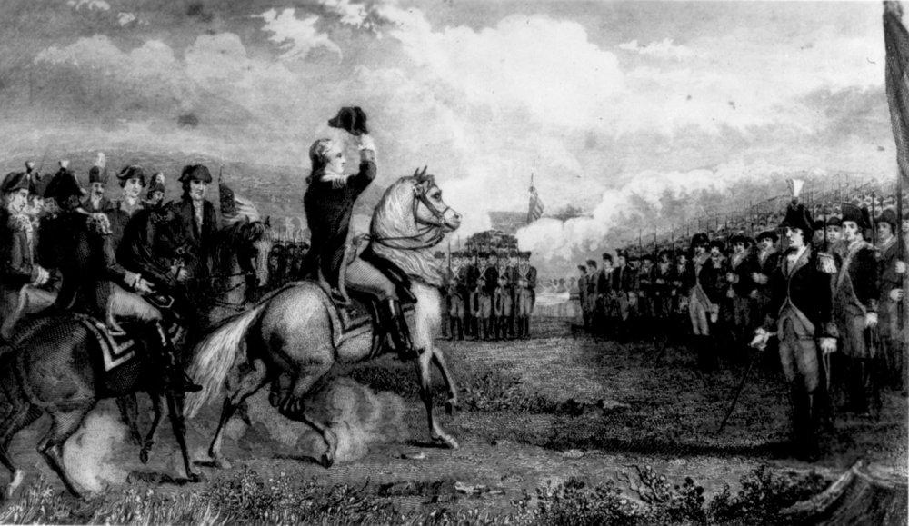 Source Wikipedia: George Washington prenant le commandement de l'armée continentale (l'armée des 13 colonies d'Amérique)