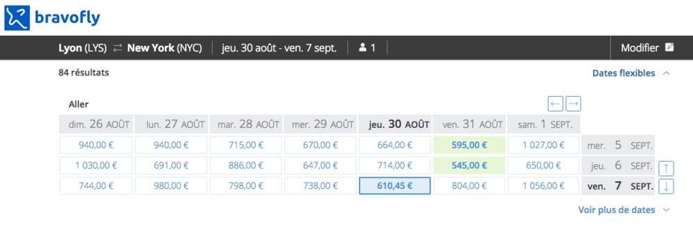 Bravofly - Hyper pratique puisqu'il permet de choisir le prix en croisant les dates de départ et les dates de retour.