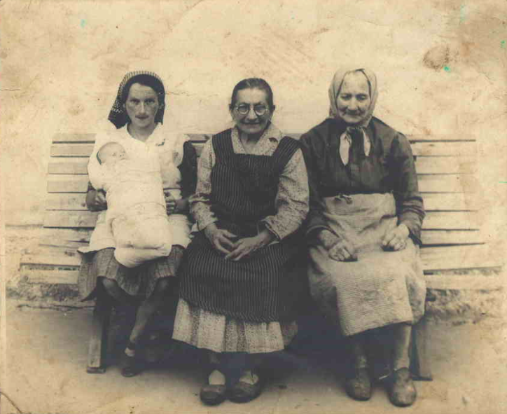 Author's mother on the left, grandmother in the middle, 1942