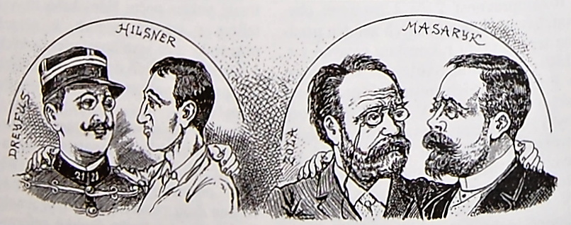 Contemporary caricature comparing the Hilsner affair to the Dreyfus affair, 1900.