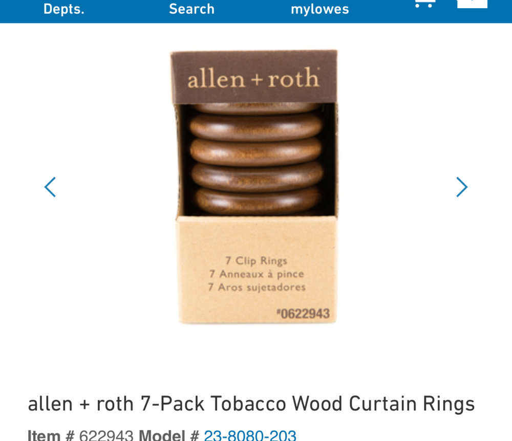 Allen +Roth Tobacco Wood Curtain Rings - $10: Lowe's -