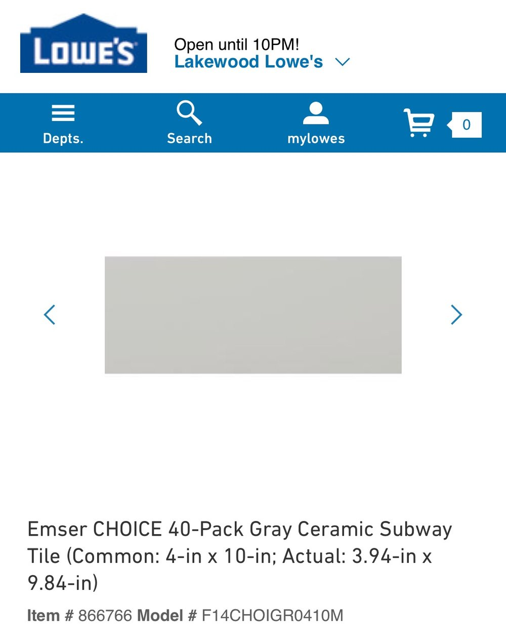 This light gray subway is the same color as my kitchen back splash, just longer and more modern -