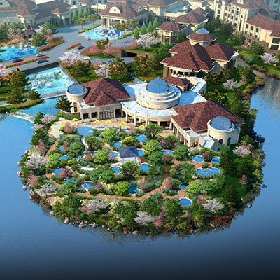 ONSENWORLD    Weifang, Shandong, China   Conceived literally as a natural onsen on a world-class scale, onsenworld is designed as a self-contained landscape environment employing indoor onsen facilities as well as outdoor hot springs and grotto pools.