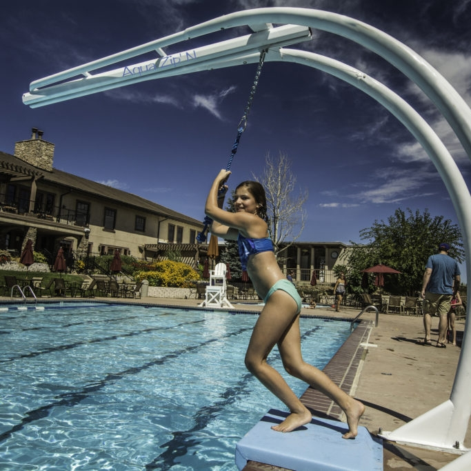 AquaZip'N - Daredevils of all ages will love this thrilling new way to launch into the pool!