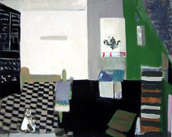Interior with Checker Floor (Denise with Dog), c.1979