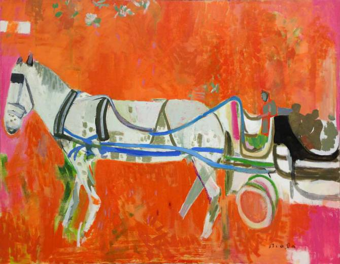 "Biala, ""Horse and Carriage,"" c. 1983, oil and collage on canvas, 45 x 58 in. (115.2 x 148.4 cm) Harvey and Phyllis Lichtenstein Collection"