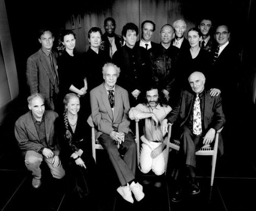 Harvey Litchenstein (seated far right) with the first artists of the New Wave Festival, BAM, 1997 (Front row from left: Jene Highstein, Kristin Jones, Merce Cunningham, Mark Morris. Back row includes Andrew Ginzel, JoAnne Akalaitis (third from left), Bill T. Jones, Lou Reed, Ping Chong and Pina Bausch (third from right) among others. Photo: Joanne Savio for  The New York Times