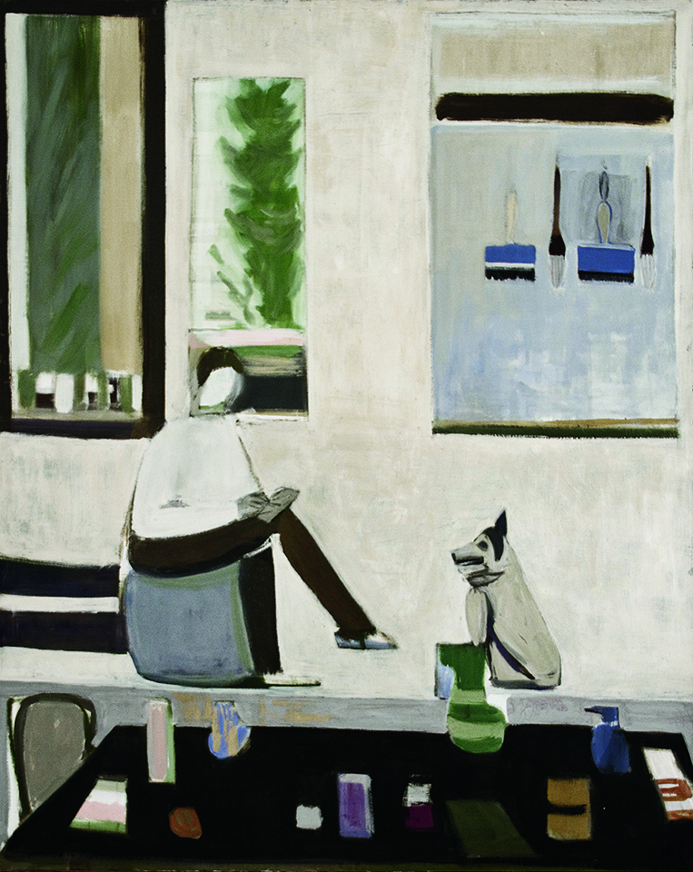 Biala,  Blue Interior with Man and Dog , 1979, Oil on canvas, 64 x 51 in. (162.6 x 129.5 cm)