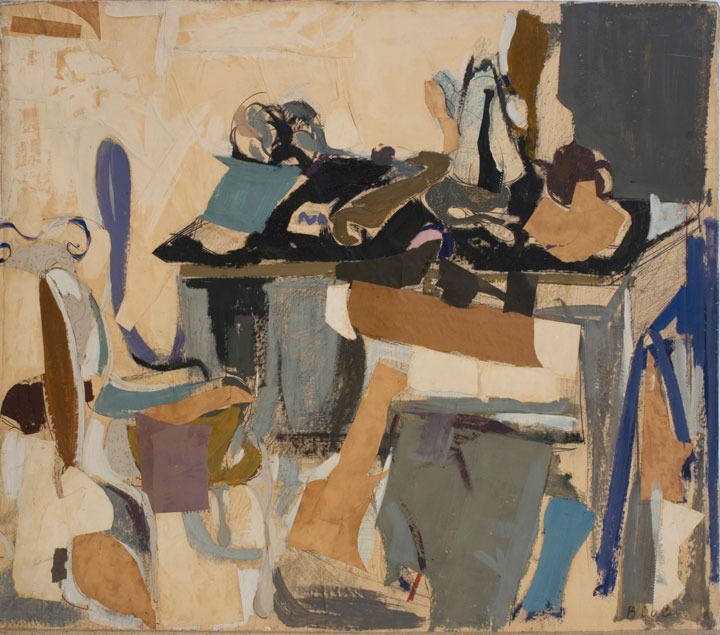 Biala,  Table Chargee , 1963, Torn paper collage with paint on canvas, 25 x 51 in. (63.5 x 129.5 cm)