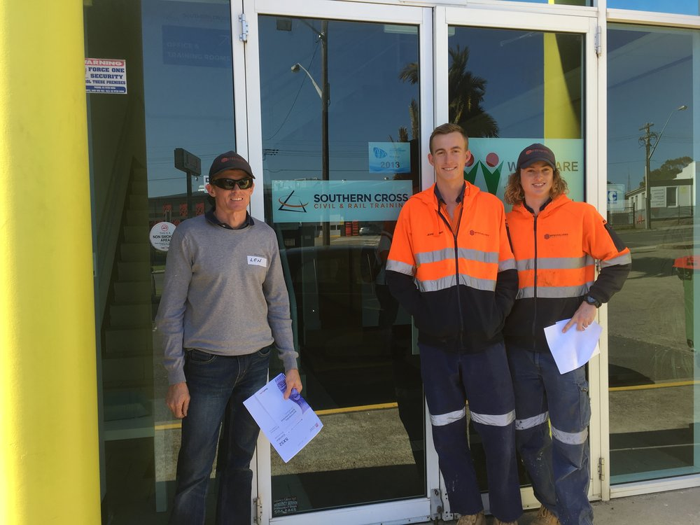 Len , Jessie and Brandon   at the Southern cross rail training Center .