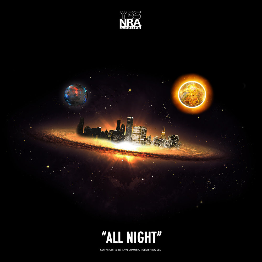 """This  """"All Night""""  cover art was designed in-house by  Leslie Michael . It was inspired by his interest in science, fiction, and the flat-earth theory."""