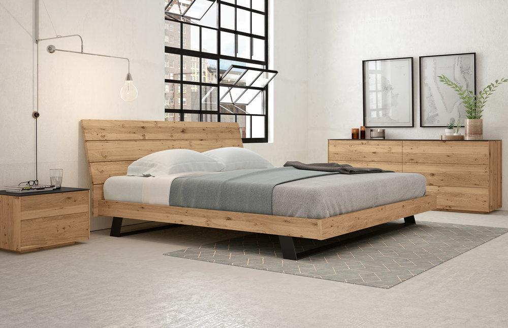 Bella Queen Bed w/ Wood Headboard