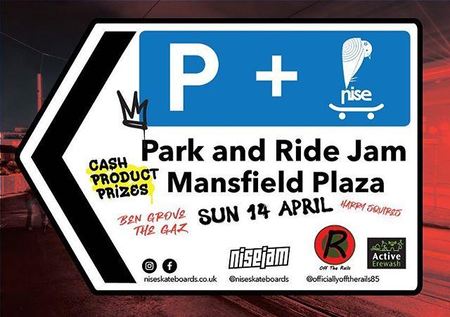 PARK AND RIDE JAM! Mansfield Plaza April 14th! Cash-Product-Prizes! . . . . . . . . . . . . . . . . . . . . . #soloskatemag #skatecrunch #skateboardengland #shralpin #skateschool #nottingham #nottinghamskateboarding @officiallyofftherails85 @champagnesupragrover @harrysquires @jamesgazzard