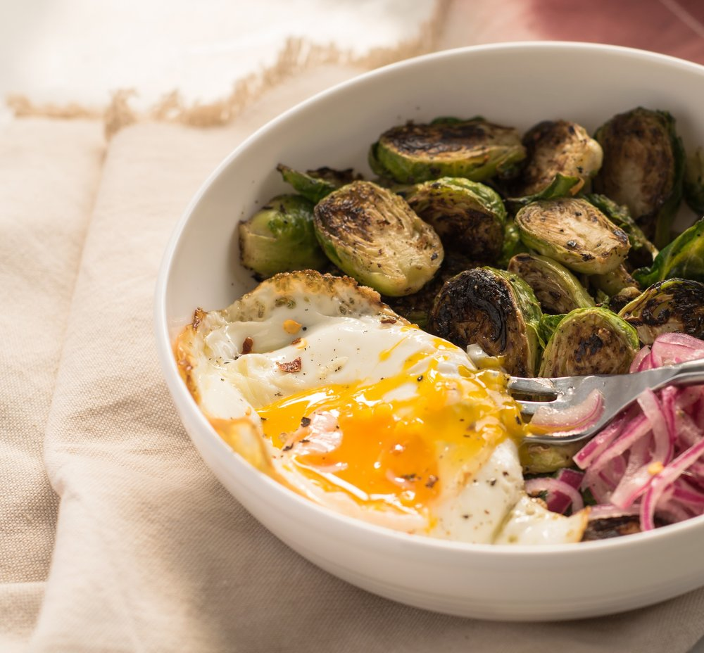Crispy Brussels sprouts & eggs | shutupeatthis.com