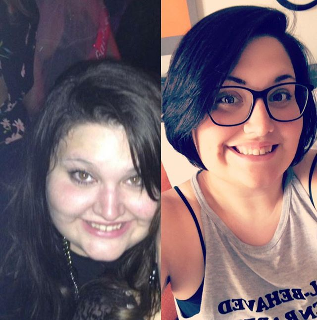 #facetofacefriday the photo on the left was taken at a friends bachelorette party at the end of 2014. It was hot outside and I wore an outfit that covered my entire body. I was miserable, and barely looked like myself.  The photo on the right was taken towards the end of summer last year (too sweaty right now to take something cute, morning workouts for the win). I still have a lot more to get to my goals, but you know what? I've been working out for almost 3 years now solidly, and today I crushed some personal goals.  I did 100 pounds on the lat pull down today, squatted 175 yesterday, and earlier this week I benched 90 pounds, something I never thought I could do as I struggled to bench just the bar for years. Even though the pounds aren't melting off, my body is doing AMAZING things and I'm so very grateful for it.  This journey is so so so worth it even if I'm not seeing the typical results. I'm kicking ass and crushing goals. 💪🏼🤗 #friday #honestinsta #fitness #fitlife #weightloss #weightlossjourney #lifting #girlswholift #crushingit #squats #weightlosslife #weightlosstransformation #transformation #100poundsdown #strong #loveyourself #loveyourbody