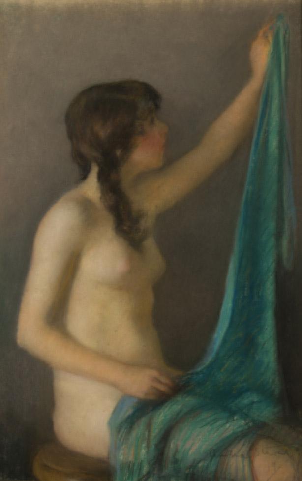 Janet Cumbrae-Stewart 1883-1960  Blue Drape 1919  Pastel on paper 53.5 x36