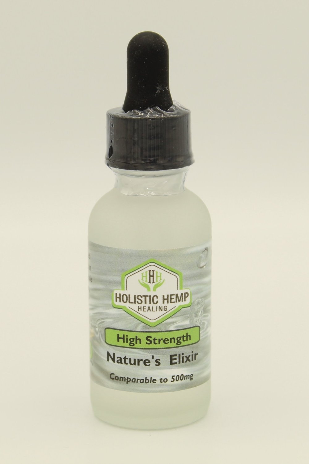 Nature's Elixir High - $70 - 30 mlIn addition to High Strength Pharma Grade Water Soluble CBD derived from industrial hemp, we use natural spring water with an alkaline pH increased 9.1+, which creates an overall tasteless Elixir. This product has a faster absorption rate than an oil and is 100% THC Free.POTENCY: MID-HIGHHigh Strength is ideal for people who find that they're having to take large and/or multiple doses of the Original Strength in order to get effective results. A single serving (1ml) of the High Strength may not appropriate for all, as they may feel that as little as half a dropper is comfortable for them.DIRECTIONSUse the dropper top to pull up the desired amount of liquid and dispense directly into your mouth or a beverage of choice.