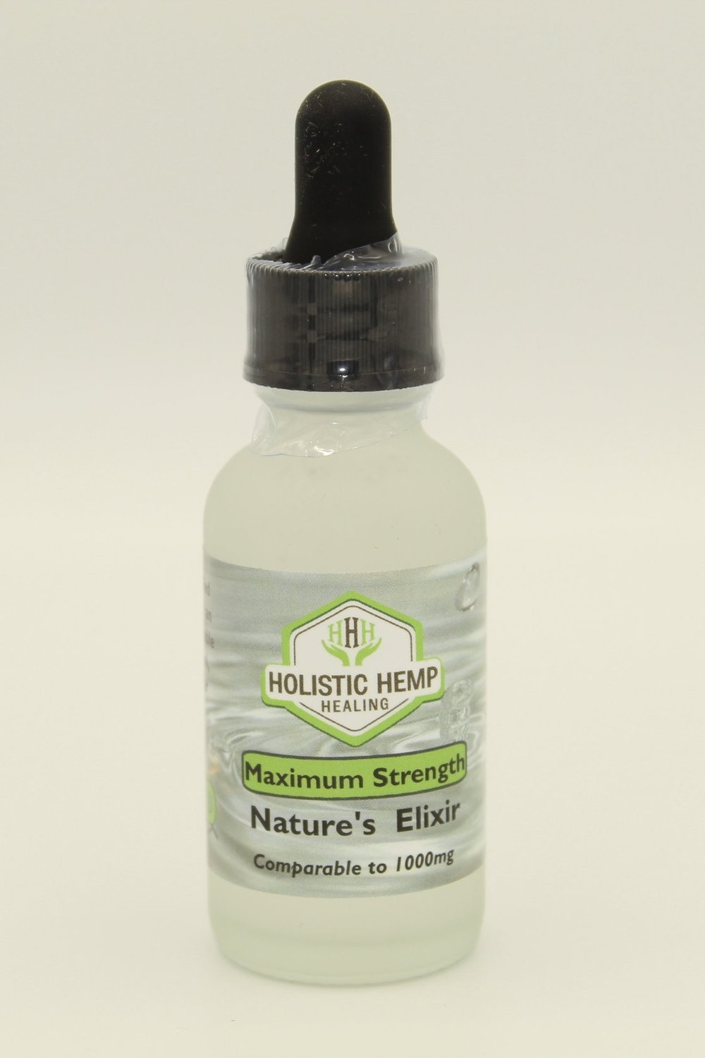 Nature's Elixir MAX - $120 - 30 mlIn addition to Max Strength Pharma Grade Water Soluble CBD derived from industrial hemp, we use natural spring water with an alkaline pH increased 9.1+, which creates an overall tasteless Elixir. This product has a faster absorption rate than an oil and is 100% THC Free.POTENCY: HIGHMax Strength is a high-strength potency product. It's not recommended that first time users start out with this elixir. A single serving (1ml) of the Max Strength may not appropriate for all, as they may feel that as little as half a dropper is comfortable for them.DIRECTIONSUse the dropper top to pull up the desired amount of liquid and dispense directly into your mouth or a beverage of choice.