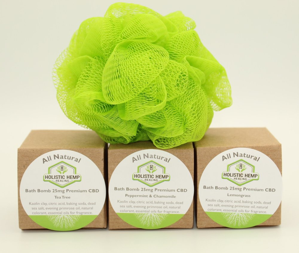Bath Bomb bundle - $35Our Bath Bomb Bundle includes 3 of our 100% all natural CBD Infused Aromatherapy Bath Bombs, one of each lovely aromatherapy scents, Tea Tree , Lemongrass, and Peppermint Chamomile. Each Bath Bomb contains Essential Oil for aroma and 25 mg of Full Spectrum CBD Oil derived from industrial hemp. Plus enjoy a free Holistic Hemp Healing Loofah with your purchase!INGREDIENTSKaolin Clay, Citric Acid, Baking Soda, 25 mg Full Spectrum CBD Oil, Dead Sea Salt, Evening Primrose Oil, and therapeutic grade Essential Oils for fragrance.DIRECTIONS FOR USEFill your bathtub with warm-hot water and drop a bath bomb of your choice into the water once it reaches the desired temperature. You can allow the Bath Bomb to completely dissolve before entering the tub or allow it to dissolve while enjoying your relaxing bath.*Not Valid With Any Additional Discount