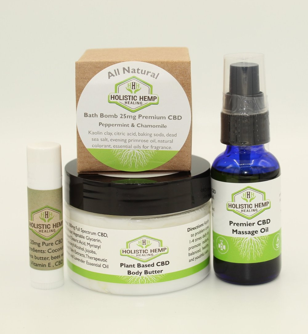 Body Shop Bundle - $79.95The Body Shop Bundle includes 1 Plant Based CBD Body Butter, 1 Lip Treatment, 1 Therapeutic Massage Oil, and 1 Bath Bomb of choice. Treat yourself or a loved one to this all natural wellness package!IngredientsPlant Based CBD Body Butter: Water, Vegetable Glycerin, Vegan Stearic Acid, Myristyl Myristate, Cetearyl Alcohol, Jojoba, Coconut, and Palm Extracts, Therapeutic Grade Lemon and Lavender Essential Oil, and 300 mg Nano Enhanced Full Spectrum CBD Oil derived from industrial hemp.Therapeutic Massage Oil: 150 mg Full Spectrum CBD Oil derived from industrial hemp, 100% Pure Therapeutic-Grade Lavender Essential Oil, and 100% Pure Therapeutic-Grade Peppermint Essential Oil.Premium CBD Bath Bomb: Kaolin Clay, Citric Acid, Baking Soda, 25 mg Full Spectrum CBD Oil, Dead Sea Salt, Evening Primrose Oil, and therapeutic grade Essential Oils for fragrance.Lip Treatment: Coconut oil, Shea butter, Beeswax, Vitamin E, and 20 mg CBD Oil derived from industrial hemp.*Not Valid With Any Additional Discount