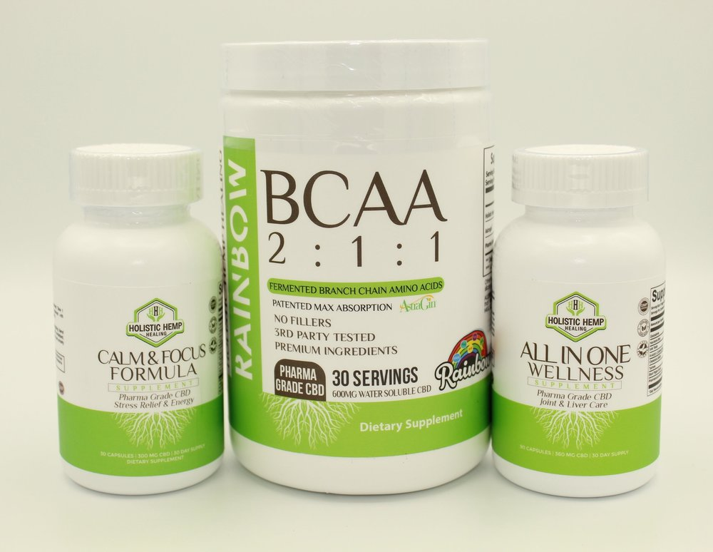 Supplement Bundle - $99.95Improve your supplement regime with all 3 of our Premium Supplements! This bundle includes our All in One Wellness, BCAA 2:1:1, and the Calm and Focus Formula, for a huge savings!INGREDIENTSAll in One Wellness: 1000 mg Glucosamine, 400 mg Milk Thistle, 350 mg NAC, 400mg Hawthorne Berry, 150 mg Chondroitin Sulfate, 120 mg Turmeric, 12 mg Water Soluble CBD derived from industrial hemp, and 15 mg Black Pepper ExtractCalm and Focus Formula: 100 mg Vitamin B1, 5 mg Vitamin B6, 1000 mcg Vitamin B12, 26 mg Calcium, 250 mg Ginkgo Biloba Leaf Extract, 250 mg Gamma-Aminobutyric Acid, 150 mg Phosphatidylserine 20% 12 mg Water Soluble CBD derived from industrial hemp, and 15 mg Black Pepper ExtractBCAA 2:1:1: 8000 mg Holistic Hemp Healing 2:1:1 BCAA, 25 mg Astragin®, 20 mg Pharma Grade Water Soluble CBD derived from industrial hemp, Natural and Artificial Flavors, Malic Acid, Sucralose, Silicon Dioxide, and Acesulfame Potassium.*Not Valid With Any Additional Discount